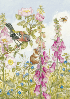 Postcard Molly Brett | Chaffinch Field Mouse, Foxgloves and Bee