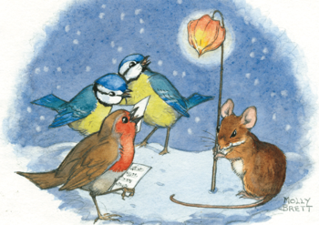 Postcard Molly Brett | Robin and Blue Tits Sing Carols
