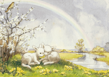 Postcard Molly Brett | Lambs and Rainbow