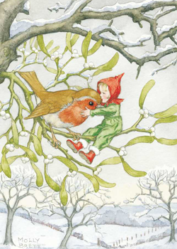 Postcard Molly Brett | Christmas robin and pixie