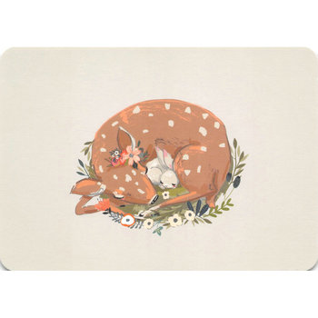 Postcard Gutrath Verlag | Sleeping young deer with hare