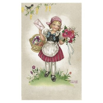 Postcard Ludom | Girl with letter