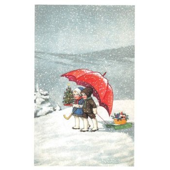 Postcard Ludom | Umbrella in the snow