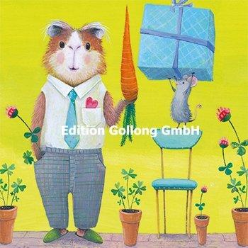 Mila Marquis Postkarte | Maus bringt Hamster ein Geschenk