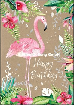 AdobeStock Doppelkarten | Happy Birthday (Flamingo)