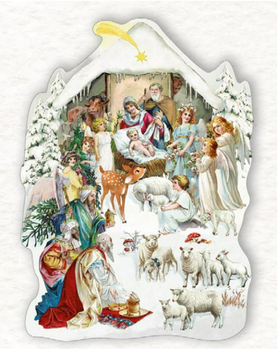 Shaped Postcard Edition Tausendschoen Specials | Nativity scene WITH ENVELOPE