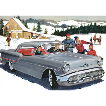 Postcard | Vintage Ad (1950s) Car winter scene