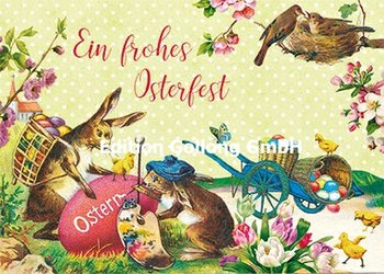 Carola Pabst Postcard | Ein frohes Osterfest (Vintage Hasen)