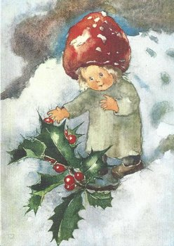 Postcard Mili Weber - Red Berries in Winter