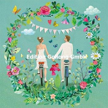 Mila Marquis Postcard | Pasgetrouwden op een fiets