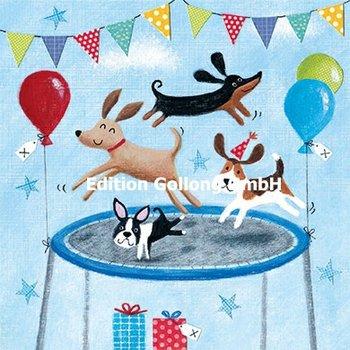 Advocate Art Postcard | Honden op een trampoline