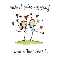Juicy Lucy Designs Wenskaart - Wahoo! You're Engaged