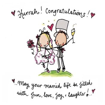 Juicy Lucy Designs Wenskaart - Hurrah! Congratulations! May your married life be filled with fun, love, joy and laughter!