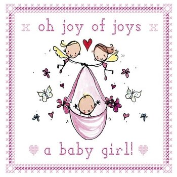 Juicy Lucy Designs Greeting Card - Oh Joy of Joys, a baby girl!