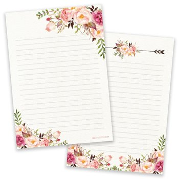 A5 Vintage Flower Notepad - Double Sided