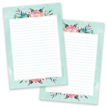 A5 Blue Flower Notepad - Double Sided