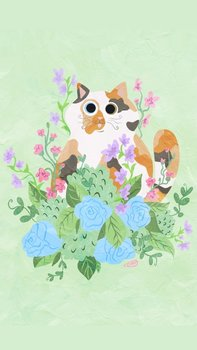 Postcard   Flower Kitty MINT