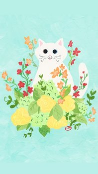 Postcard   Flower Kitty BLUE with white cat