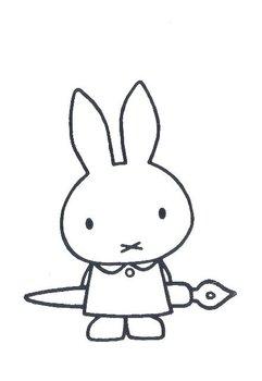 Nijntje Miffy Postcards   Nijntje met pen (Silver on White)