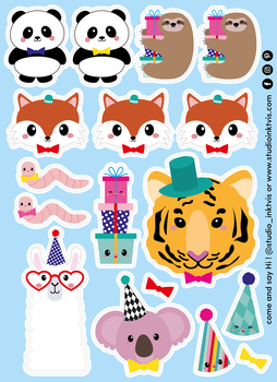 A6 Sticker Sheet 17 STICKERS - PANDA FOX