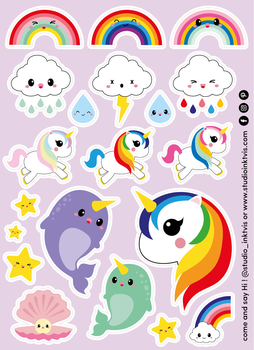 A6 Sticker Sheet 20 STICKERS - UNICORN RAINBOW NARWHAL