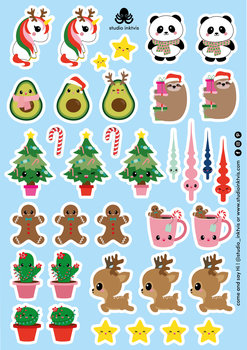 A5 Sticker Sheet 36 STICKERS - XMAS