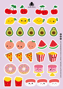 A5 Sticker Sheet 32 STICKERS - SUSHI FRUIT EN FAST FOOD