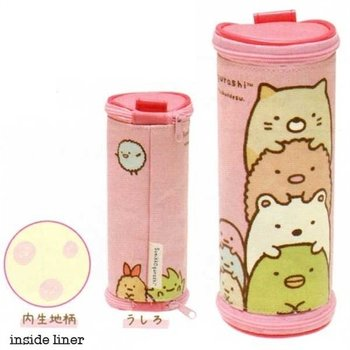 San-X Sumikkogurashi Pink Canvas Multi-Use Round Barrel Pouch