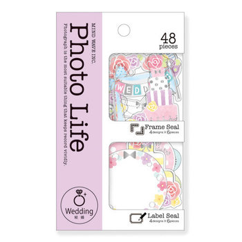 Mindwave Photo Life Frame & Label Seal Sticker Flakes Sack | Wedding Pastel