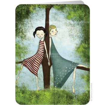 Santoro Eclectic Collection Dubbele Wenskaart | Girls at a tree