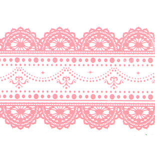 Large Adhesive PVC Decotape Pink Lace