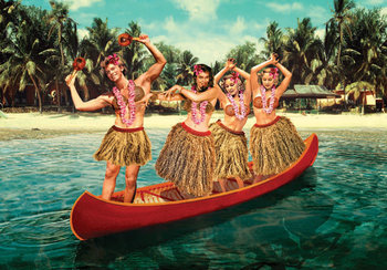 Hula Canoe Individual Postcard by Max Hernn
