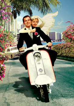 Scooter Wedding Individual Postcard by Max Hernn