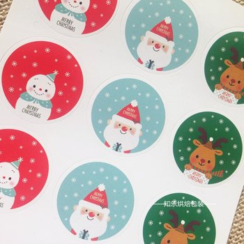 Sealing Stamp Stickers X-mas | Merry Christmas Cute Snowman Santa Reindeer