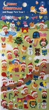Merry Christmas Seal Sticker   Blue Santa Sled Reindeer