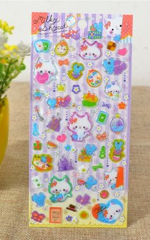 Kawaii Puffy Epoxy Stickers | Milky Shy Cat