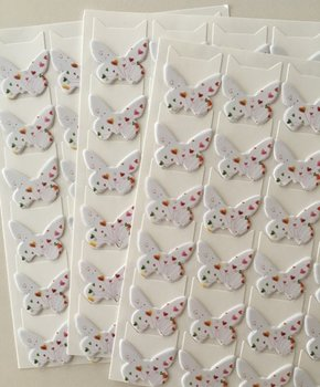 Butterfly Shaped Photo Corner Stickers | White with Hearts