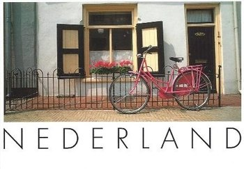 Art Unlimited Postcard | Pink Bike and Red Flowers