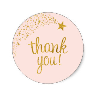 Thank You Circle Sealing Stamp Stickers | Shooting Star Pink Gold