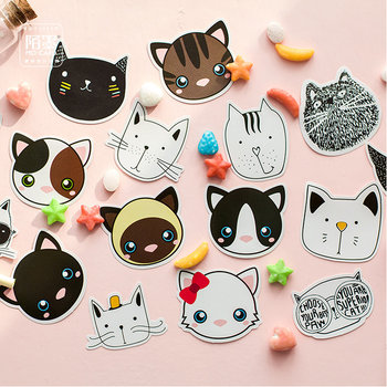 Sticker Flakes Box | Cute Cat Faces