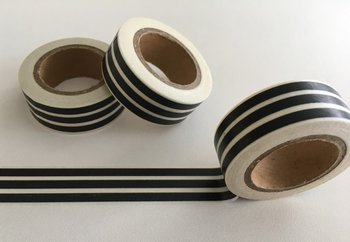 Washi Masking Tape | Black with White Stripes