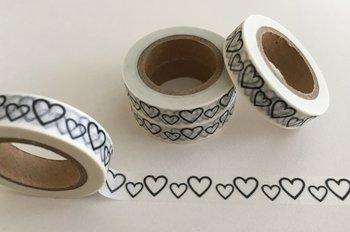 Washi Masking Tape | Small Black & White Hearts