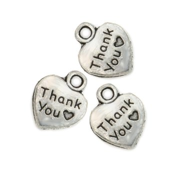 Tibetan Silver Plated Thank You Heart Charms Pendants