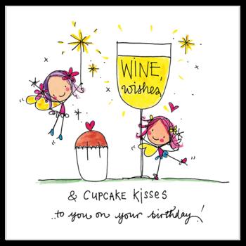 Juicy Lucy Designs Wenskaart - Wine wishes and cupcake kisses