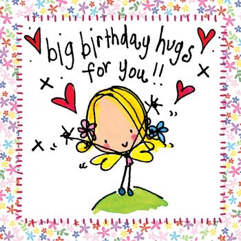 Juicy Lucy Designs Wenskaart - Big Birthday Hugs for You!
