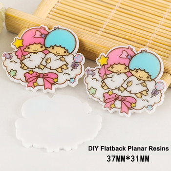 Flatbacks Planar Resin Charms | Little Twin Stars Sitting on a Cloud