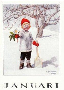 Elsa Beskow Postcard | January
