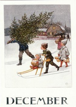 Elsa Beskow Postcard | December