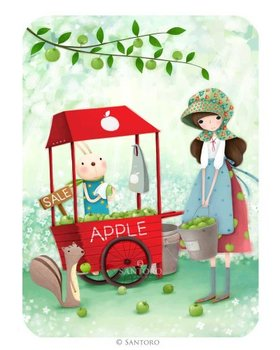 Santoro Eclectic Collection Double Postcard Kori Kumi Cards | An Apple a Day