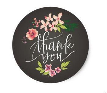 Thank You Circle Sealing Stamp Stickers | Flowers on Chalkboard